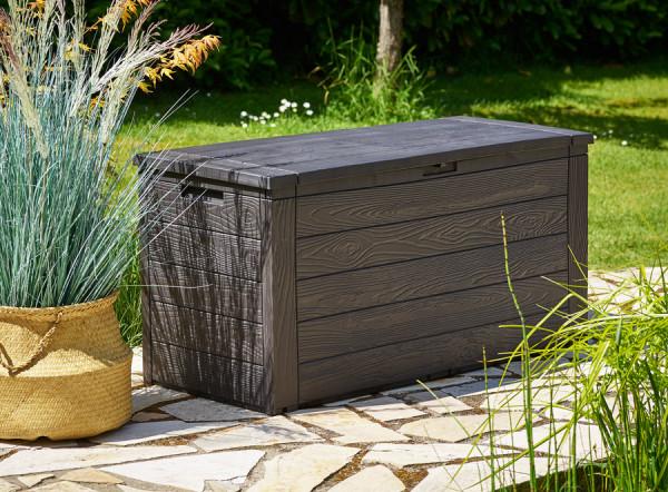 Auflagenbox Anthrazit Holzoptik 120x46x57cm Auflagenbox Holzoptik Moderner Stauraum