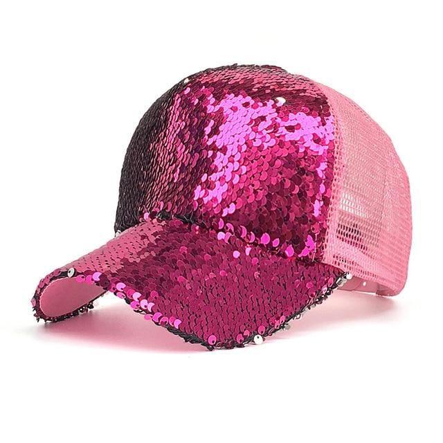 Casual Women Plain Curved Visor Adjustable Cap Sequined Breathable Baseball Hats