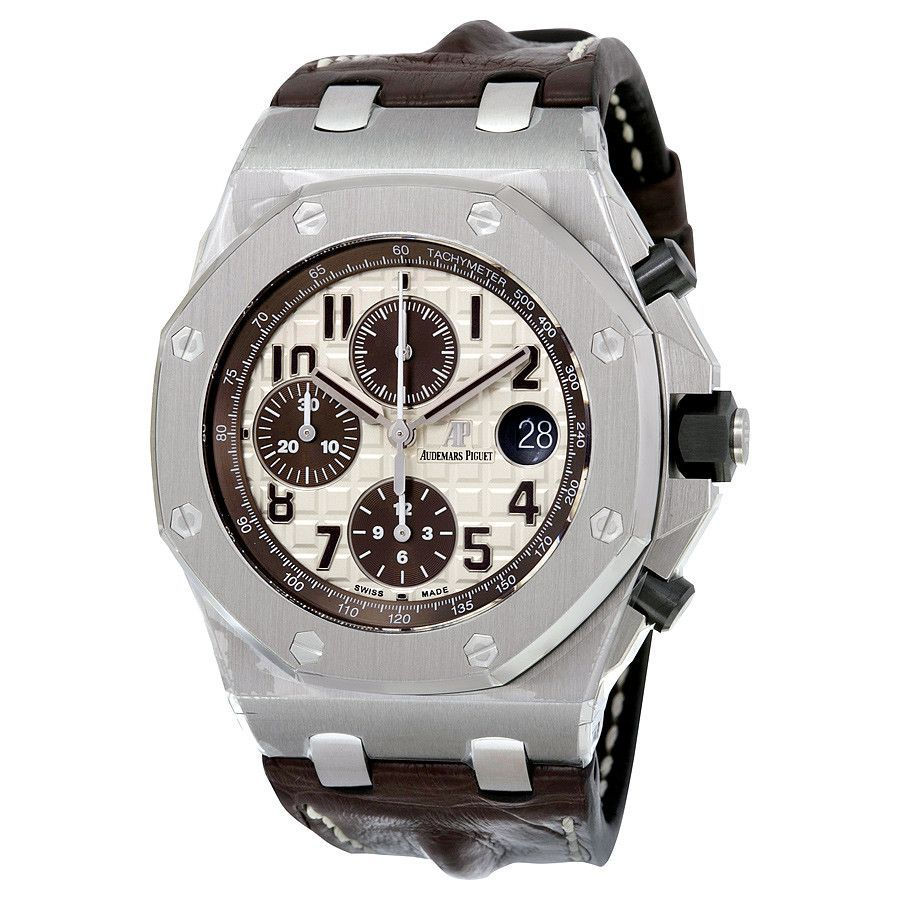 Audemars Piguet Royal Oak Offshore Ivory Dial Brown Alligator Leather Watch 26470STOOA801CR01