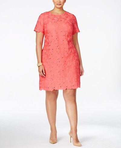 cbf5418b366b Calvin Klein Plus Size Lace Sheath Dress