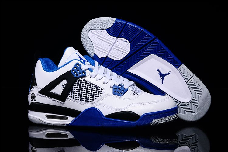 Mens Nike Air Jordan 4 Retro Shoes White Blue Black b40a52f99cf