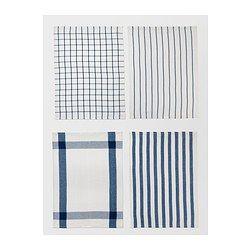 IKEA ELLY White, Blue Dish towel | Kitchen Essentials | Blue ...