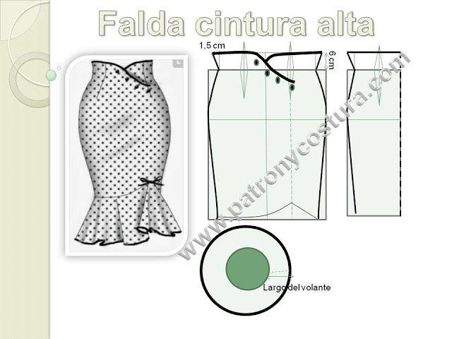 Falda cintura alta.Tema 190 (PATRÓN Y COSTURA) | costura | Pinterest ...