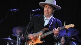 Bob Dylan performing on stage on 22 July, 2012 in Carhaix-Plouguer, western France