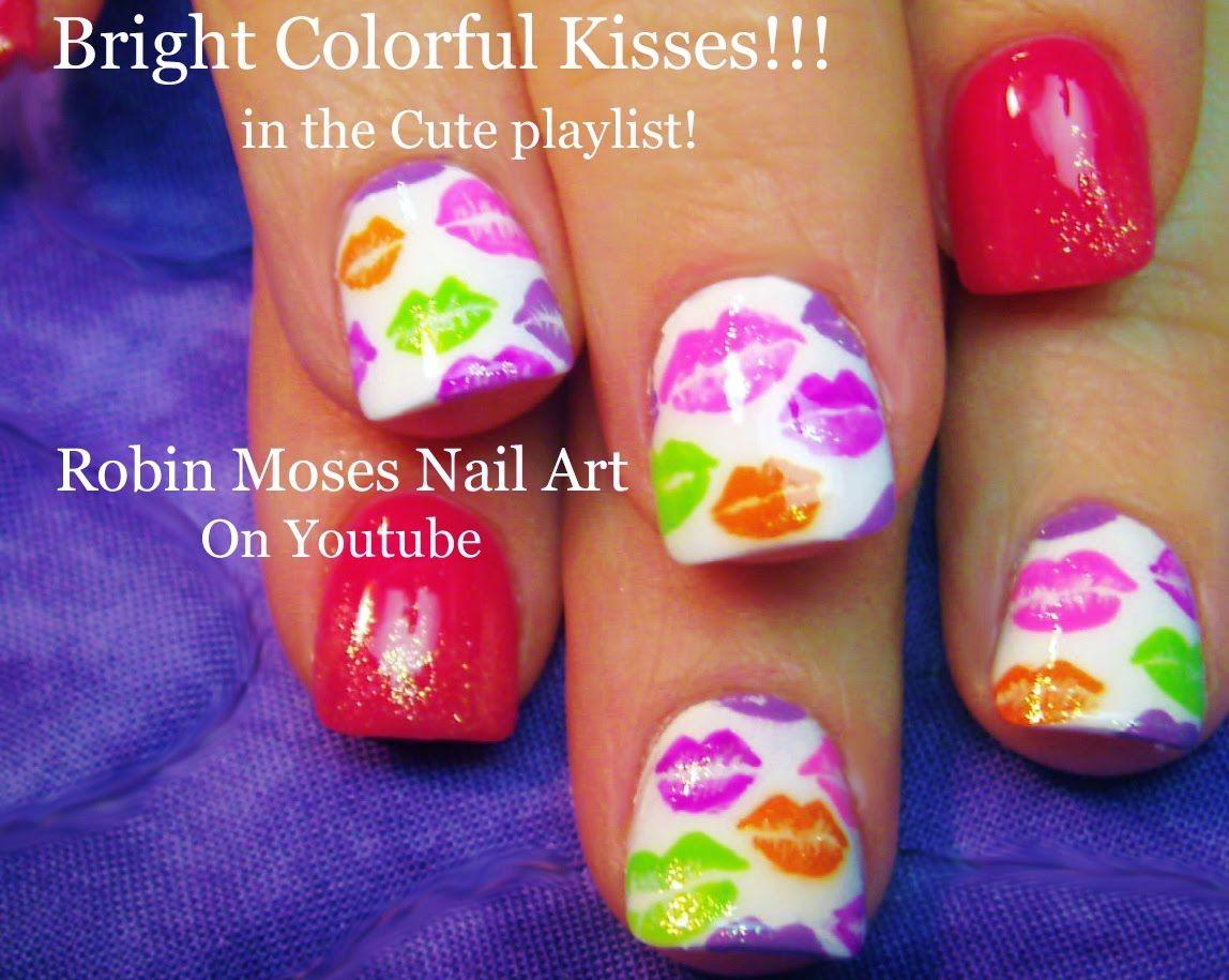 Nail Art Tutorial   Colorful Kiss Nails   Lip Print Nail Design ...