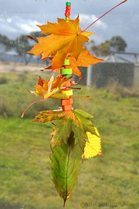 stringing leaves | Preschool Activites: Fall | Fall crafts