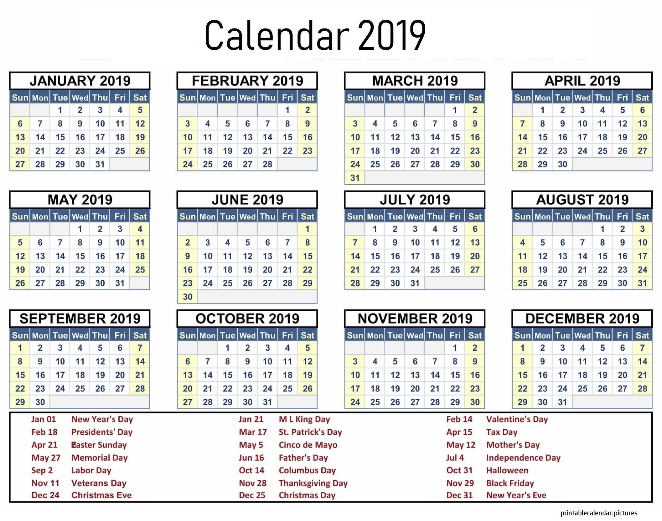 2019 Calendar Template With Holidays Calendar 2019 Template Calendar 2019 Printable Calendar Printables