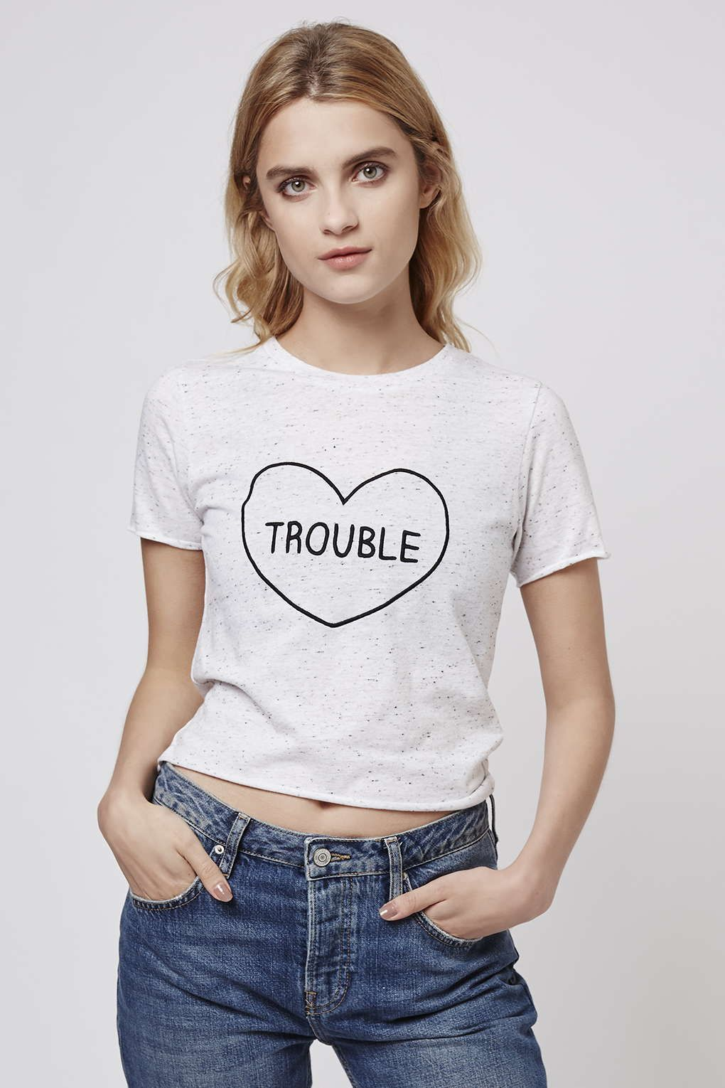 Photo 2 of PETITE Trouble Heart Motif Tee