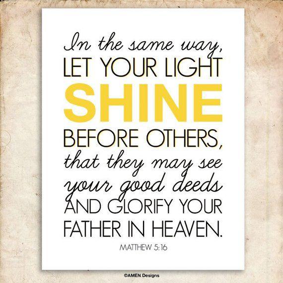 Matthew 516 Nursery Decor Let Your Light Shine 8x10 Printable