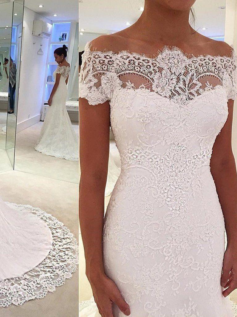 Mermaid Wedding Dresses Romantic Short Sleeve Sweep Train Lace White Bridal Gown Jkw336 Wedding Dresses Ivory Bridal Gown Lace Mermaid Wedding Dress [ 1024 x 768 Pixel ]