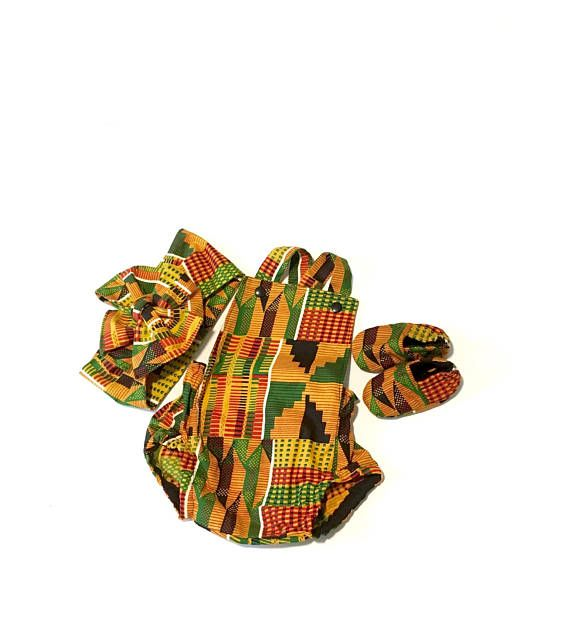 c26350e99220 African inspired Kente print baby romper set with headwrap and soft sole  crib shoes. This