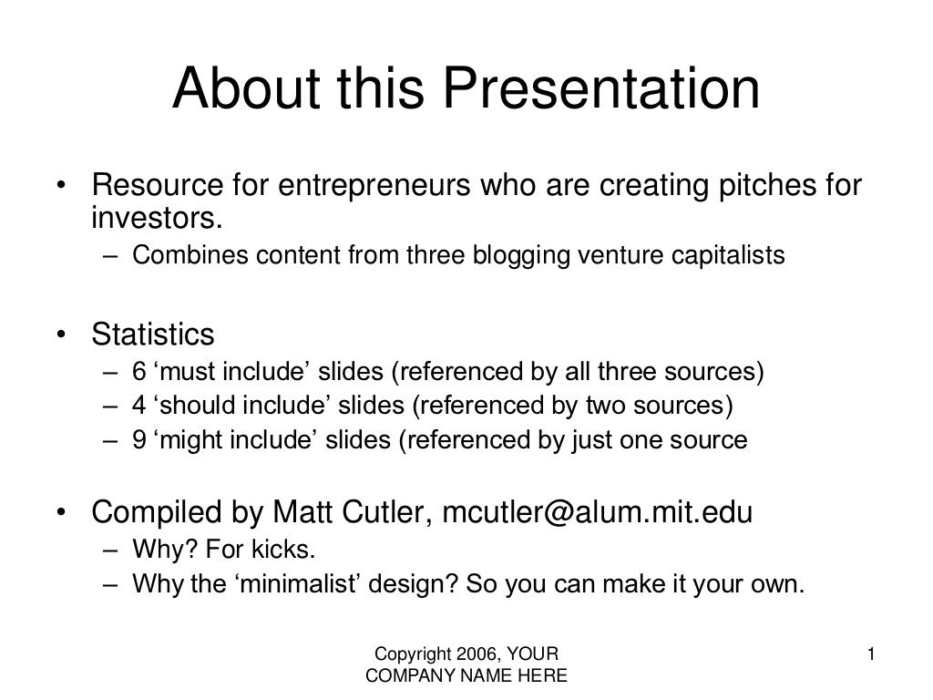 VC Pitch Presentation Template The Rule Of PowerPoint - Vc pitch template