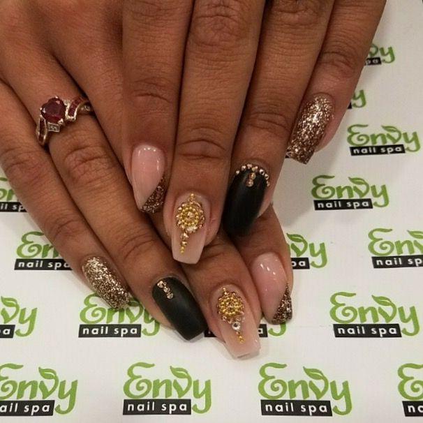 Matte Black, Gold Glitter, Studs, Embellishment Nails - Envy Nail ...