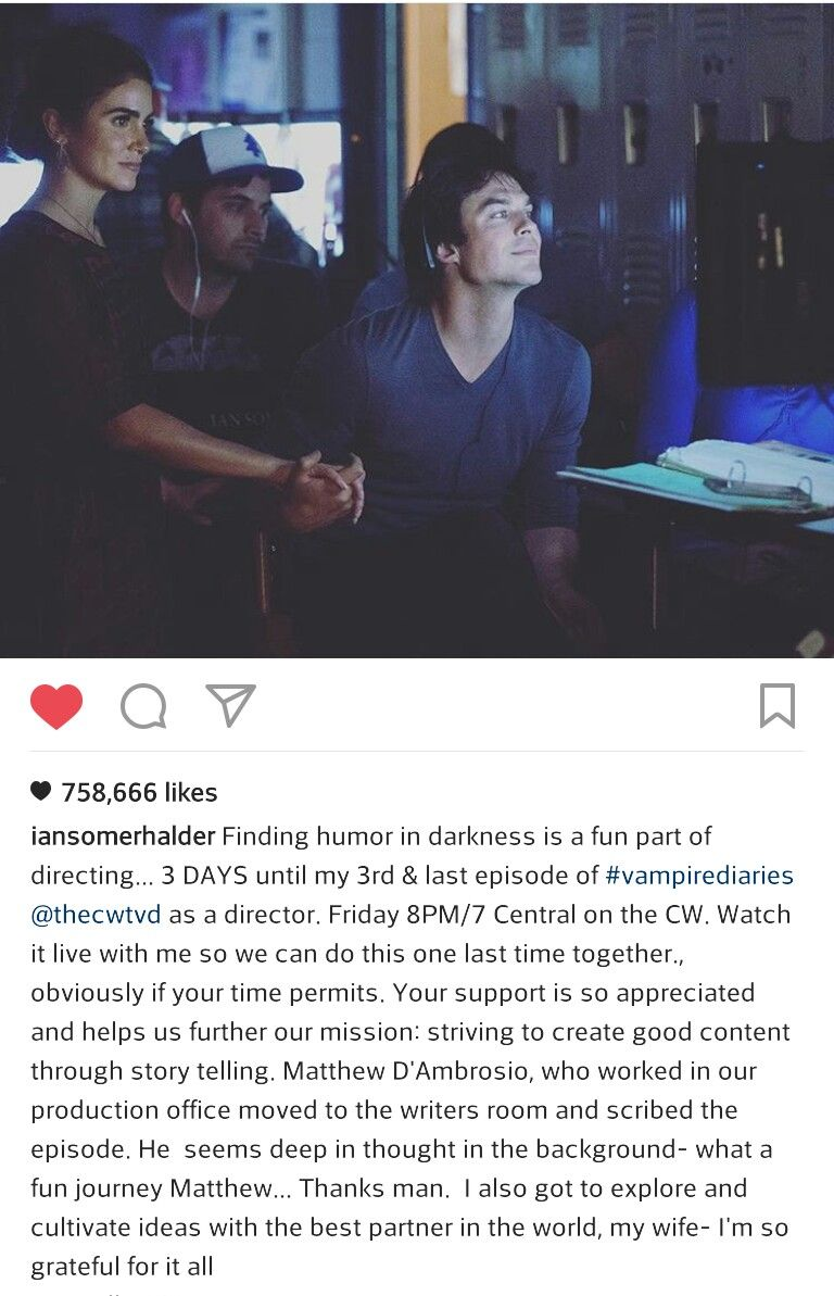 Ian Somerhalder directing TVD Season 8 Episode 8