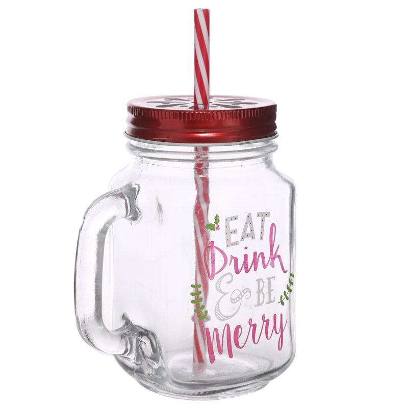 Fun Glass Drinking Jar With Straw Christmas Slogans Glass Drinking Jars Drinking Jars