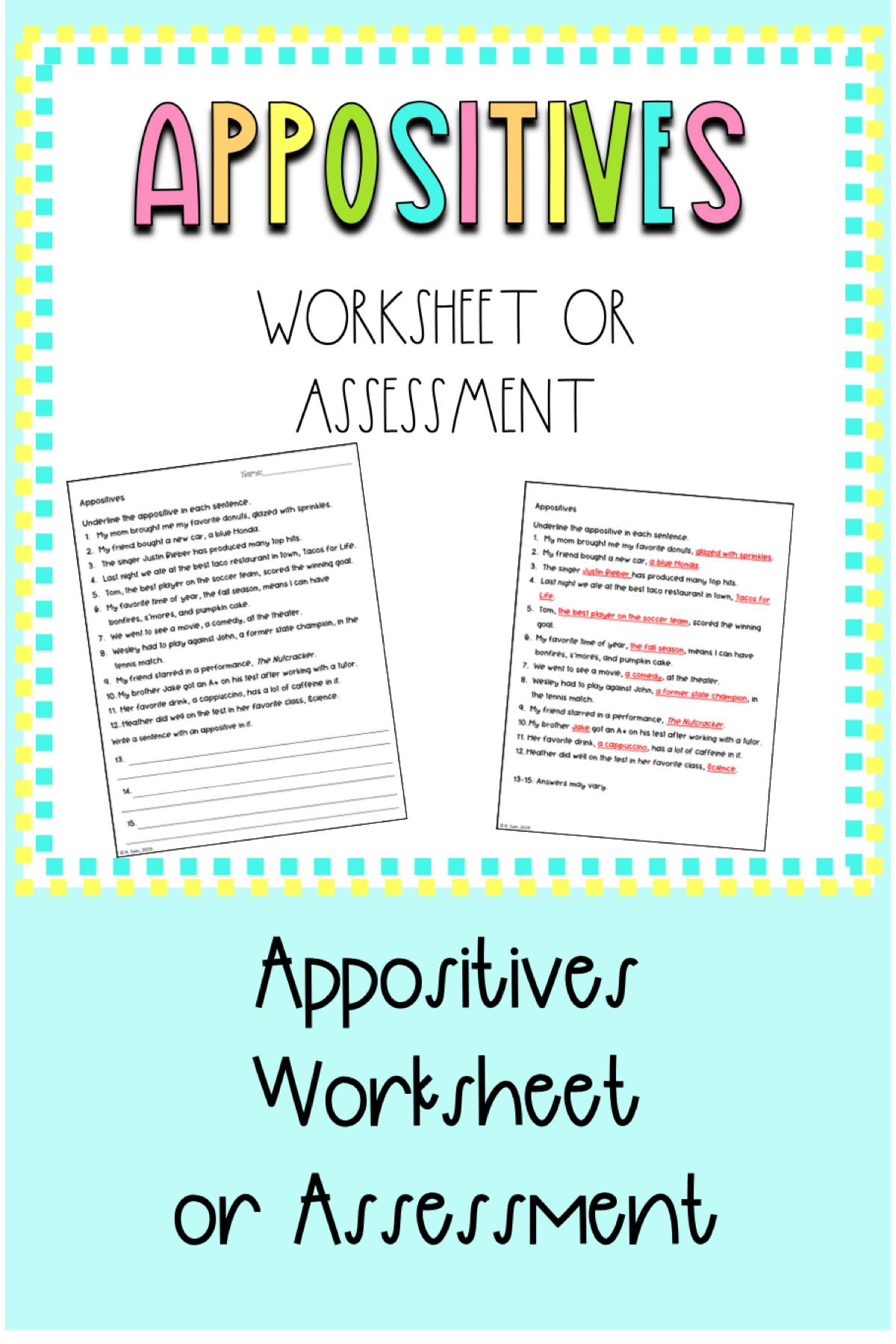 Appositives And Appositive Phrases Worksheet 6th 8th