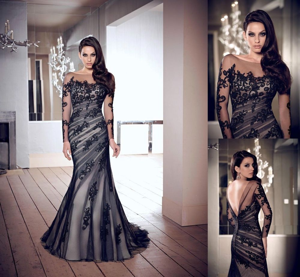 Sexy black lace custom jewel wedding gown long sleeve mermaid prom