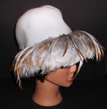 1960s Vintage Christian Dior Blue Feathered Hat
