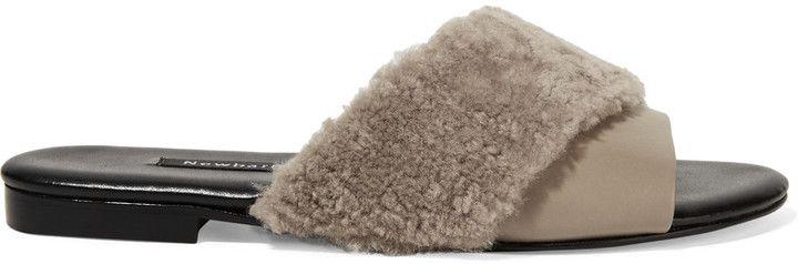 NewbarK Shearling-trimmed leather slides