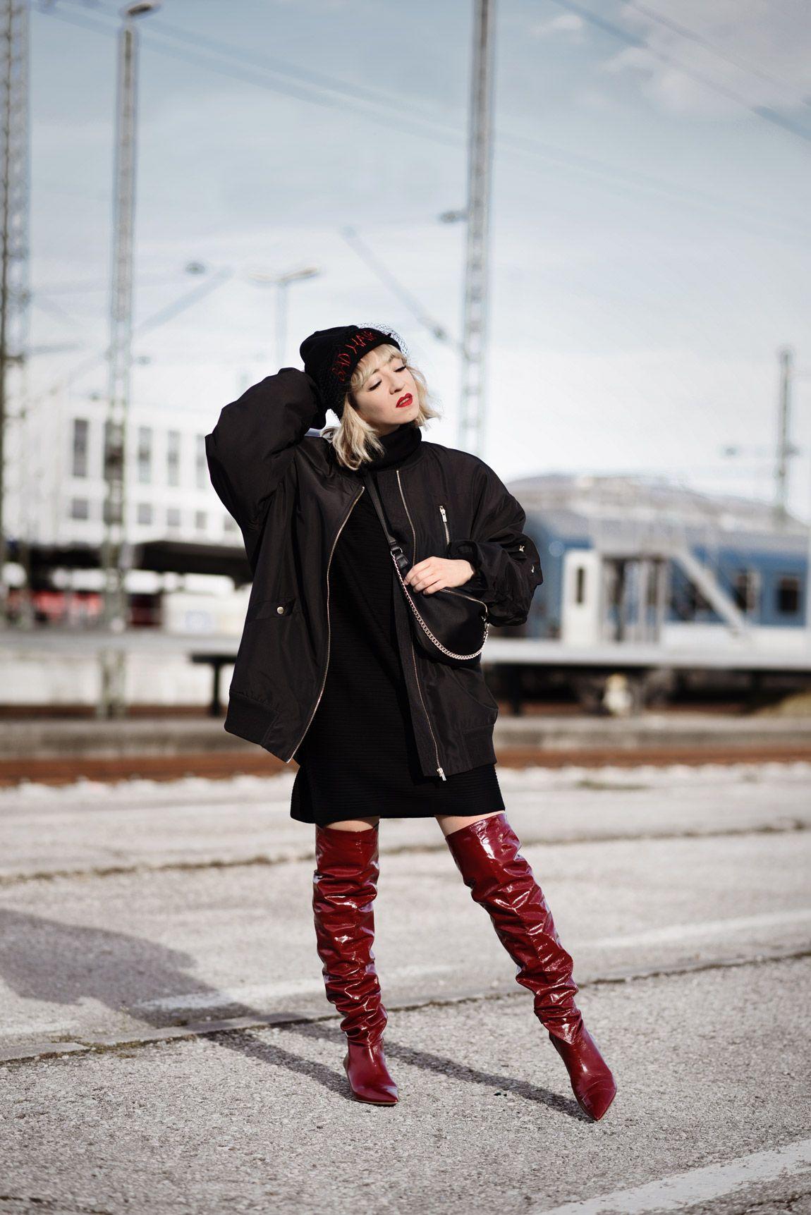 overknees, oversize, trend, rot, lackleder, zara, fashionblog, modeblog,  fashionblogger, münchen, streetstyle, bomberjacke, ootd, outfit, look,  schwarz, ... 379b3ded04