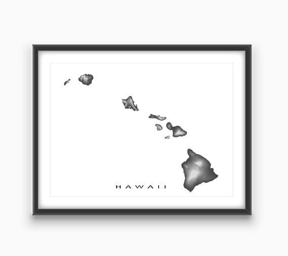 Hawaii Map Print Hawaiian Islands Art Maui Oahu Kauai Molokai