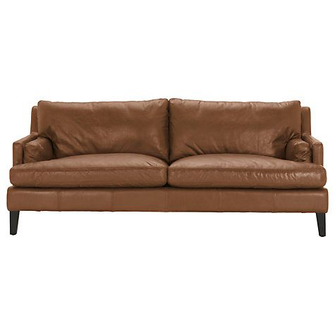 Halo Canson Large 3 Seater Leather Sofa, Riders Nut | Swan\'s ...