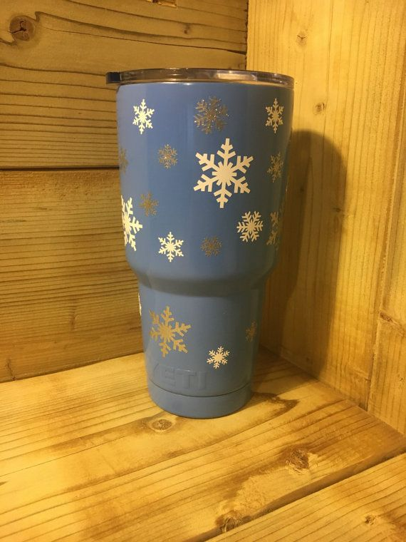 Snowflake Yeti Tumbler-30oz// Travel Mug, Coffee and Winter Lover, Boozy cup, Christmas Cup