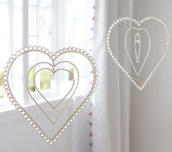 Iso Gold Concentric Heart Mobile Baby Room Decor