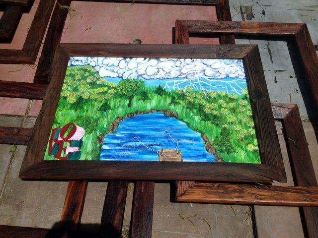 Custom art frames from Oklahoma barn wood for sale at etsy ...