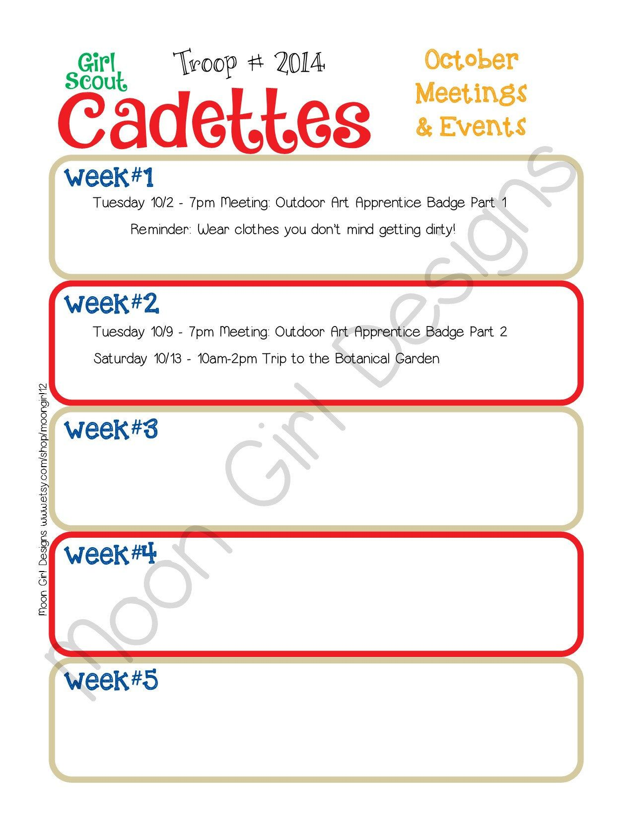 Cadette Monthly Activity Calendar Girl Scouts Editable