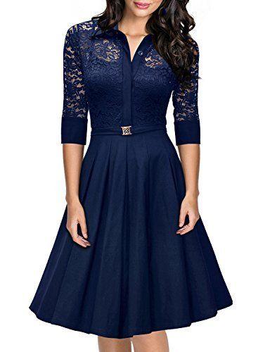 4f5083598e96 Missmay® Women s Vintage 1950s Style 3 4 Sleeve Black Lace Flare A-line