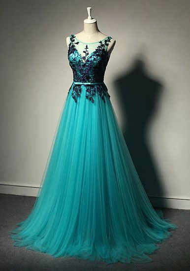 New Fashion Blue Tulle Formal Gownlace Black Evening Gownstulle