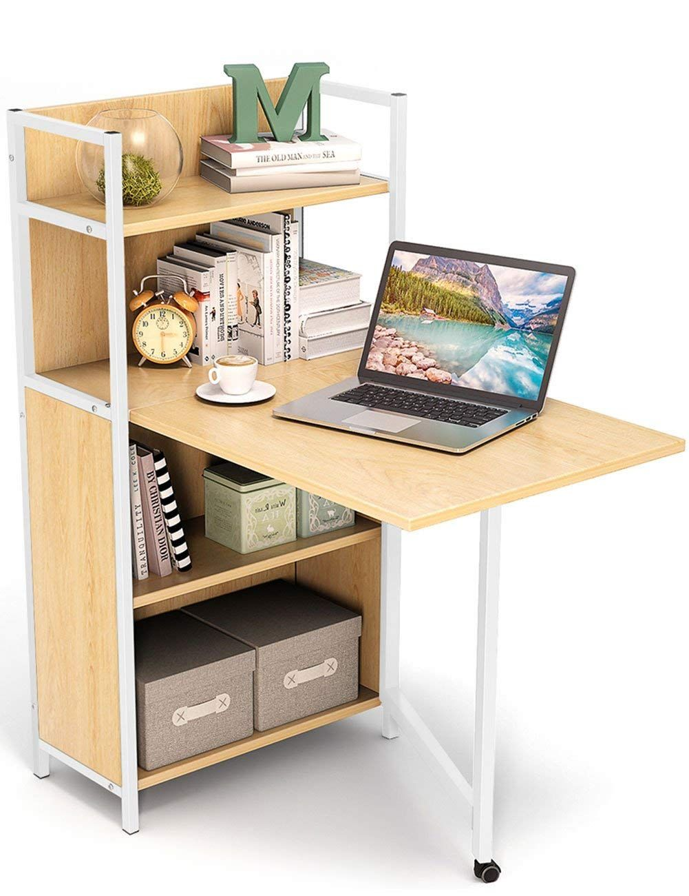 Folding Computer Desk Shelf Space Saving Small Computer Desk Writing Table Desktop Is Foldable It Desks For Small Spaces Bookshelf Desk Floating Desk