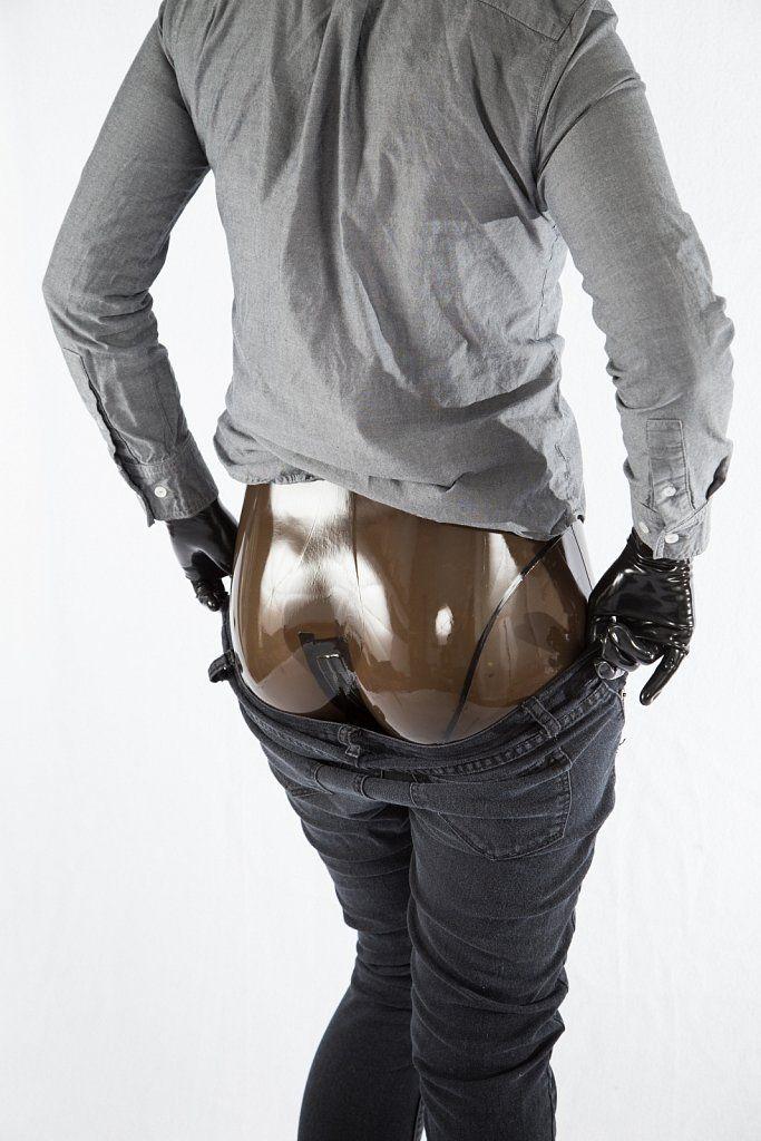 Clothes over a transparent latex catsuit | Transparent ...