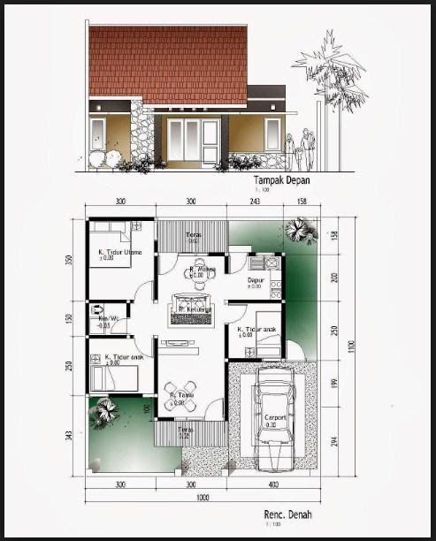 Ide Konsep Denah Rumah Minimalis Ukuran 8x12 3 Kamar Untuk Inspirasi Gambar Denah Rumah Minimalis 3 Kamar Tidur Ukur Di 2020 Denah Rumah Desain Rumah Rumah Minimalis