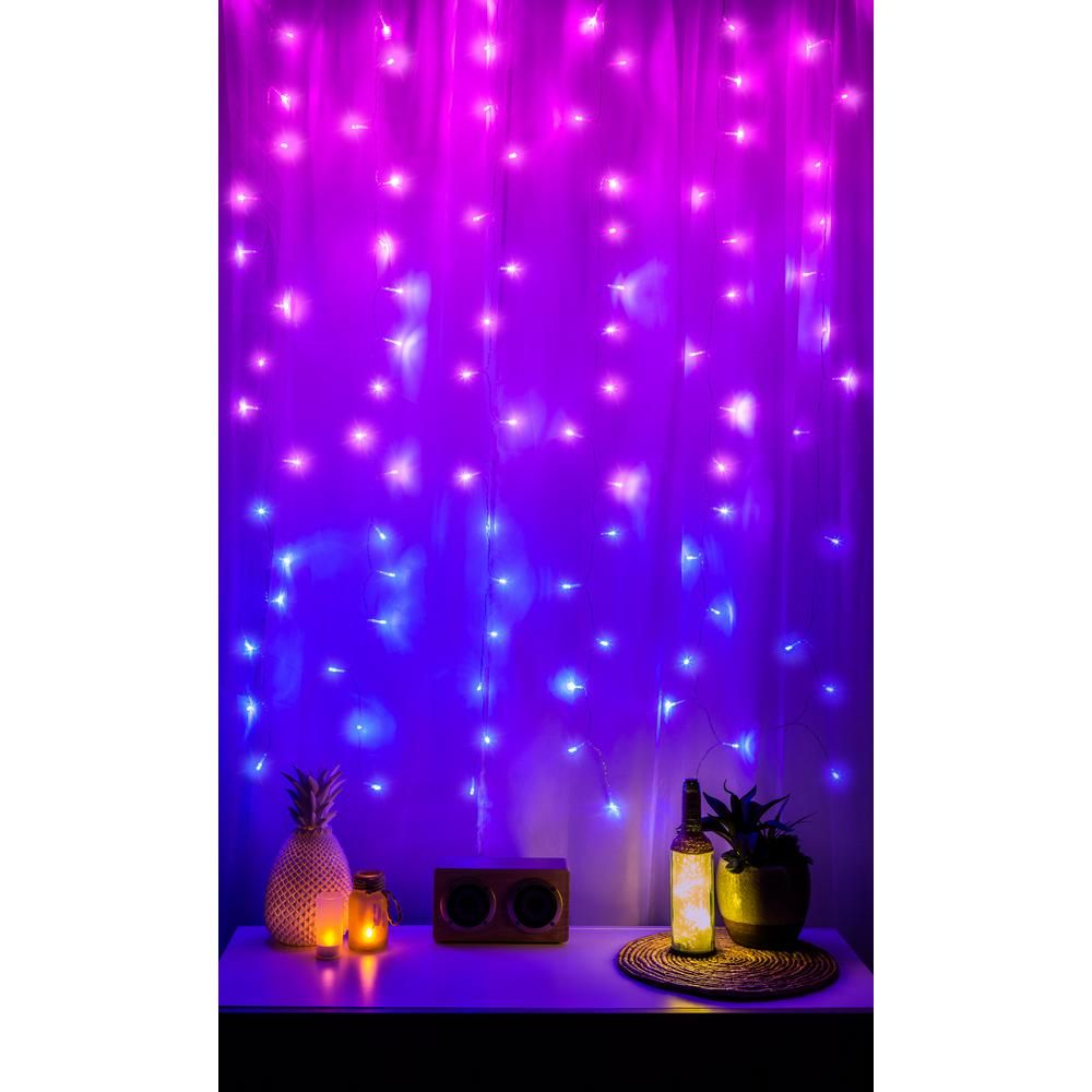 Curtain Lights Rainbow Waterproof Battery Xmas Tree Home New Year Room Decor