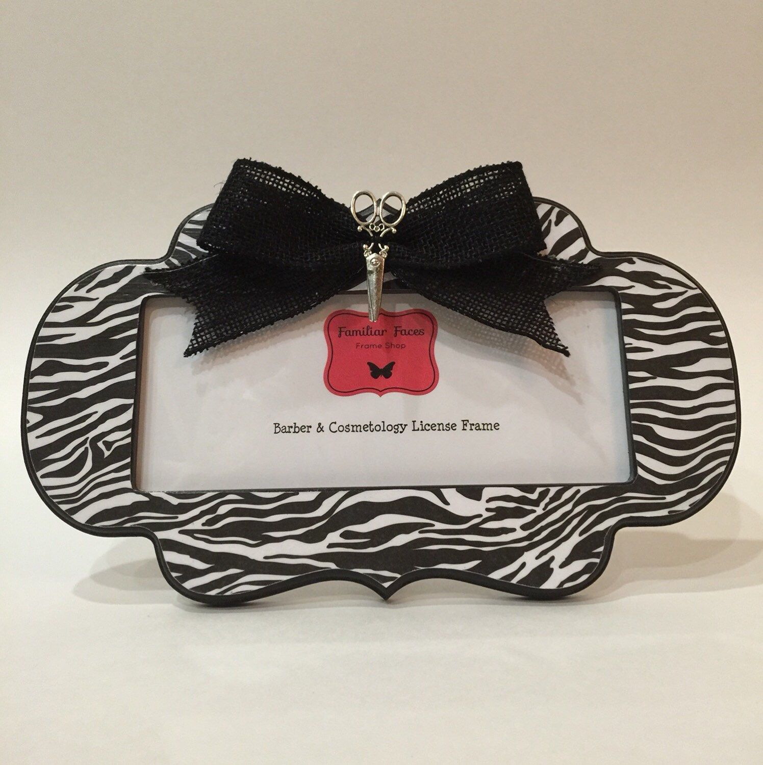barber cosmetology license frame black white zebra stripes with black bow and silver scissors fits 8 x 3 business certification by familiarfacesframes on