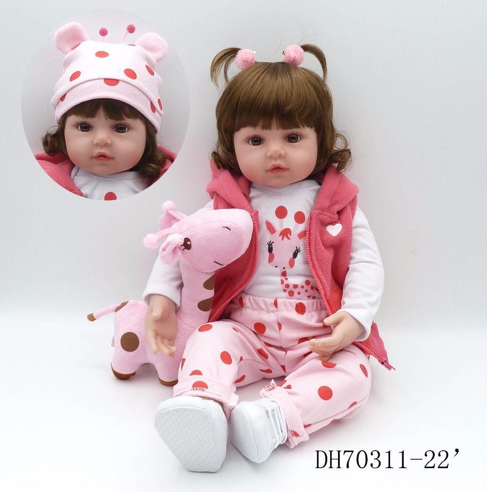 242ffcb29 Mais recente new 58 cm silicone reborn baby dolls boneca reborn bebes reborn  realista bonecas de moda para a princesa crianças presente de aniversário  em ...