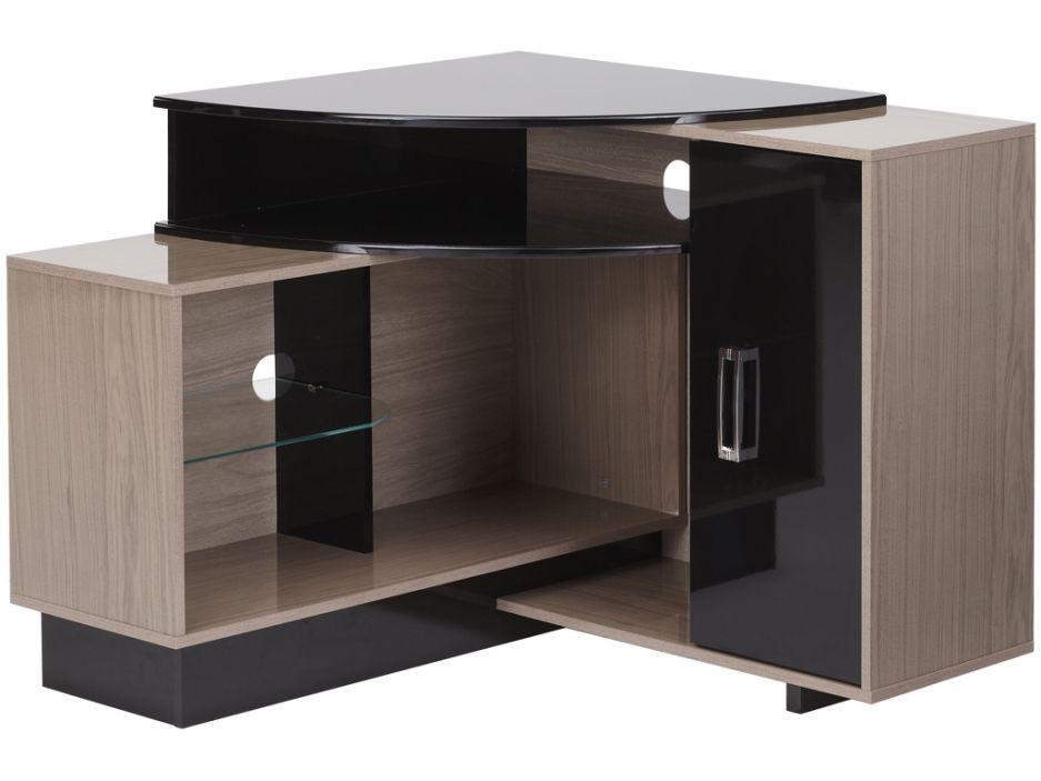 meuble tv d 39 angle salvador avec rangements mdf noir et naturel id es pour la maison en