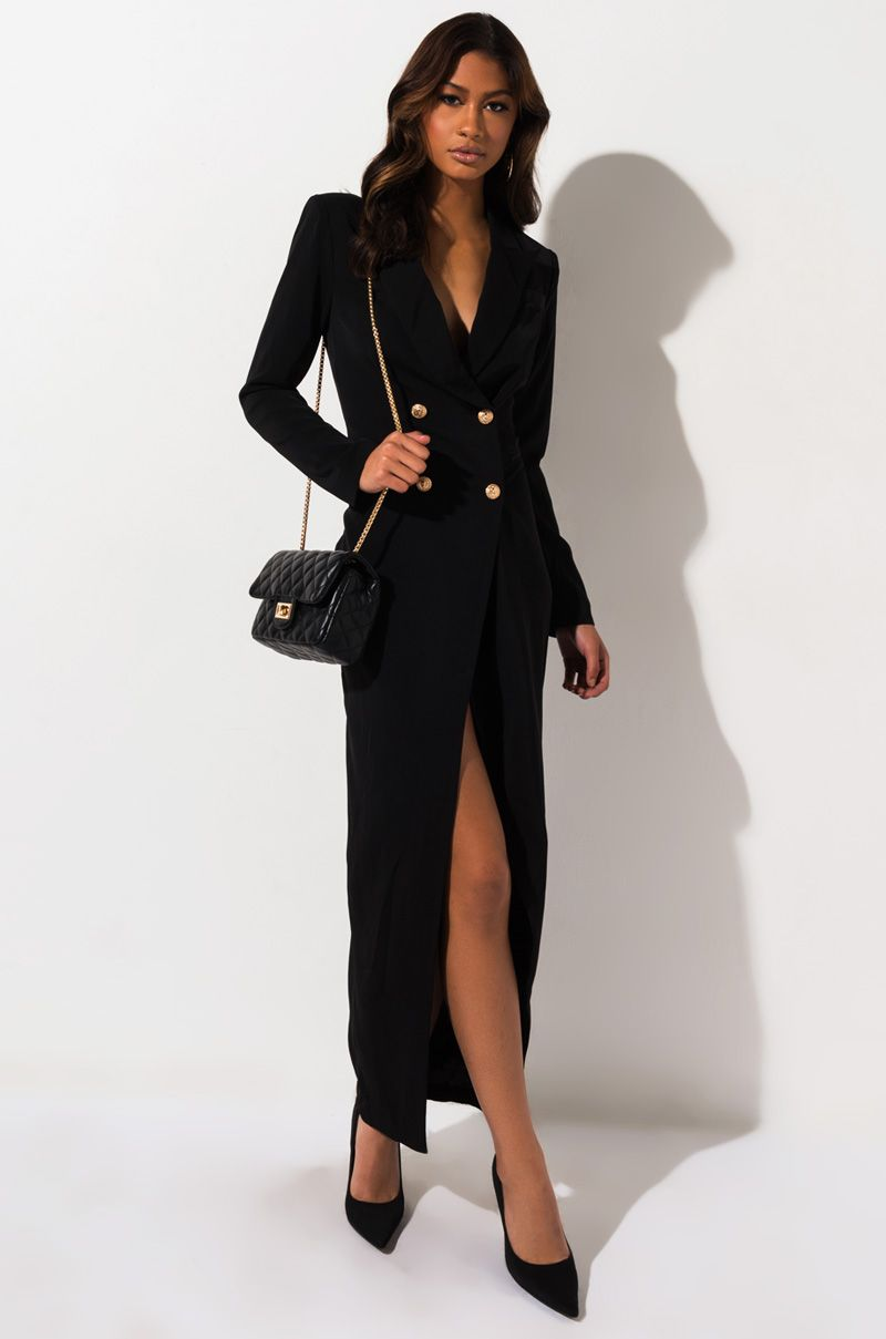 Big World Maxi Blazer Dress Long Sleeve Dress Outfit Black Long Sleeve Midi Dress Blazer Dress [ 1209 x 800 Pixel ]
