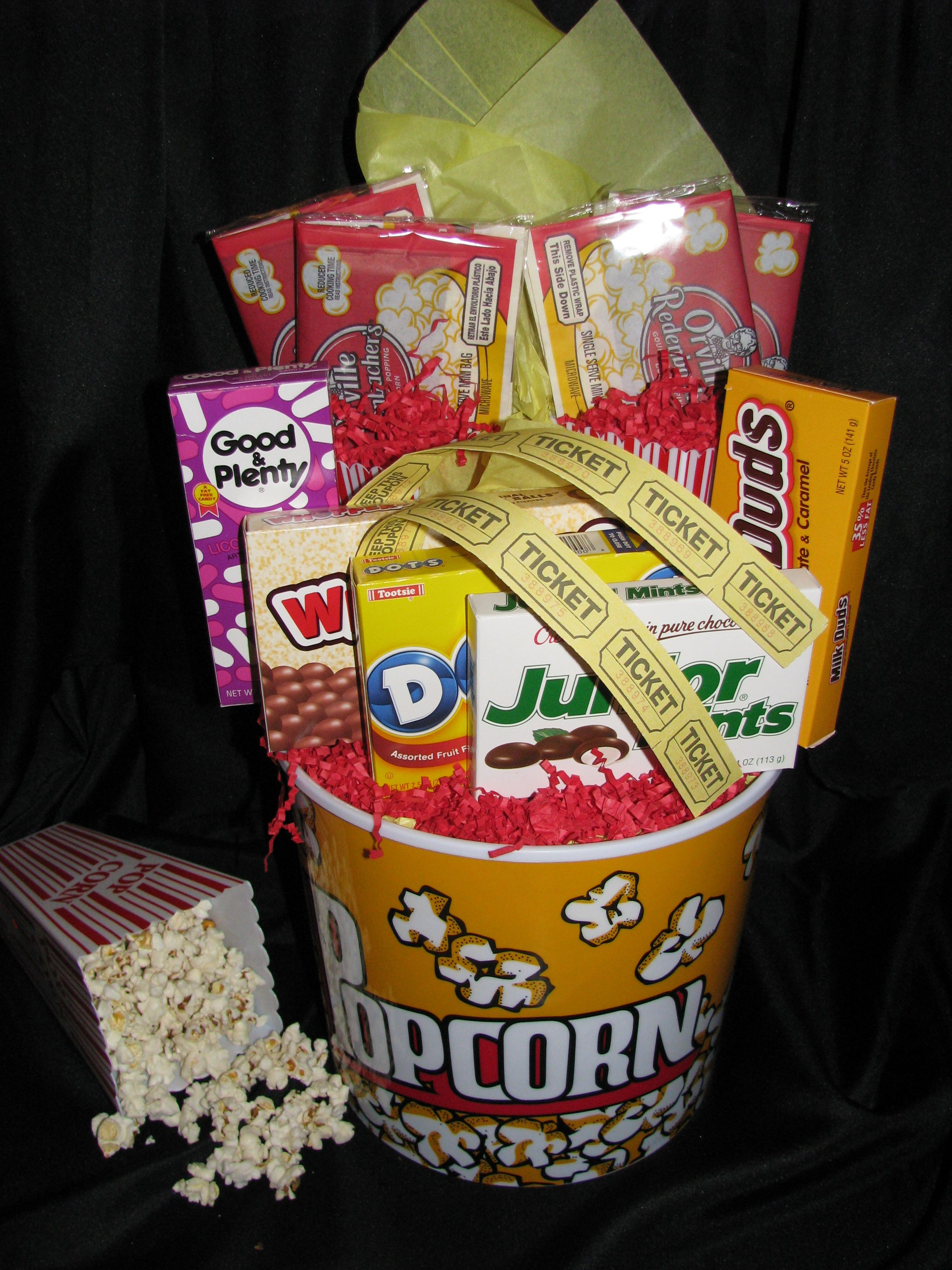 Movie Night Gift Basket Great For Couples And Families Movie Night Gift Basket Movie Basket Gift Movie Night Basket