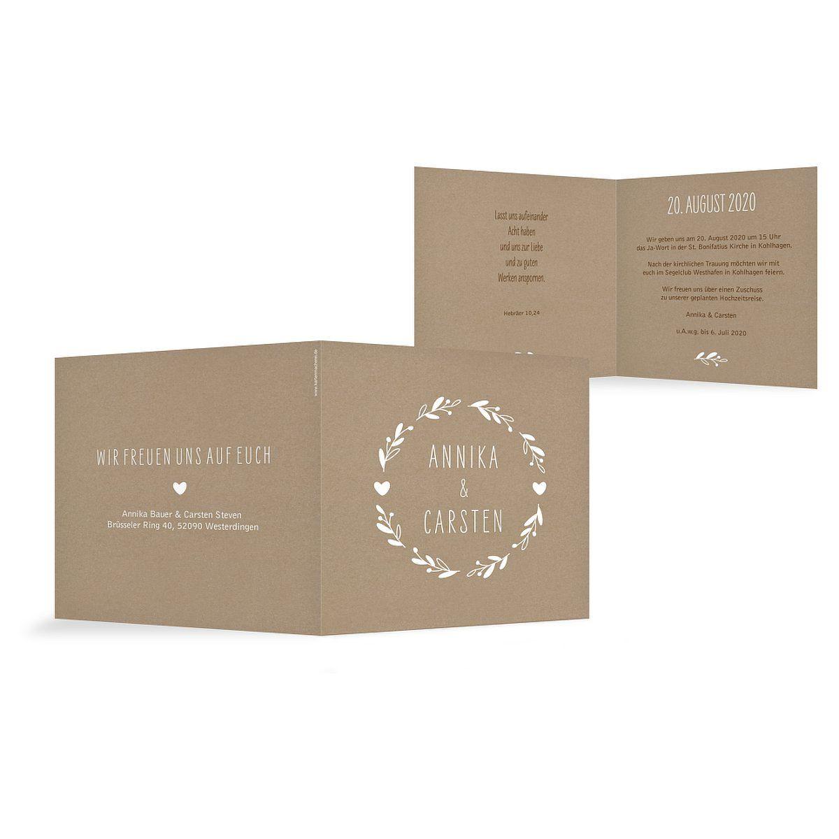 """Hochzeitseinladung """"Floral Wreath Kraftpapier"""""""