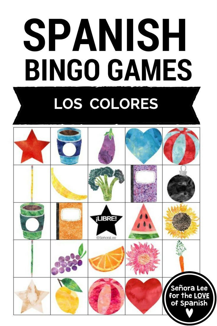 Spanish Colors Bingo Los Colores Spanish Colors Spanish Practice
