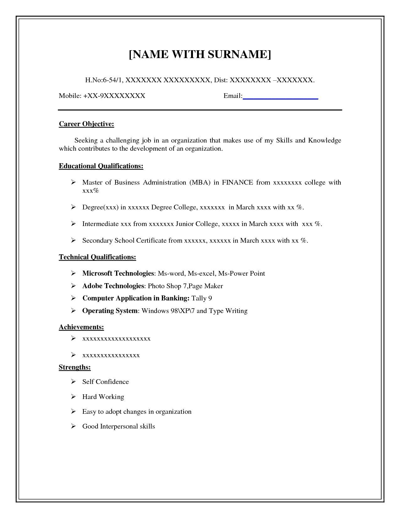 Resume Blank Format Easy And Free Resume Templates Resume Templates Free Simple