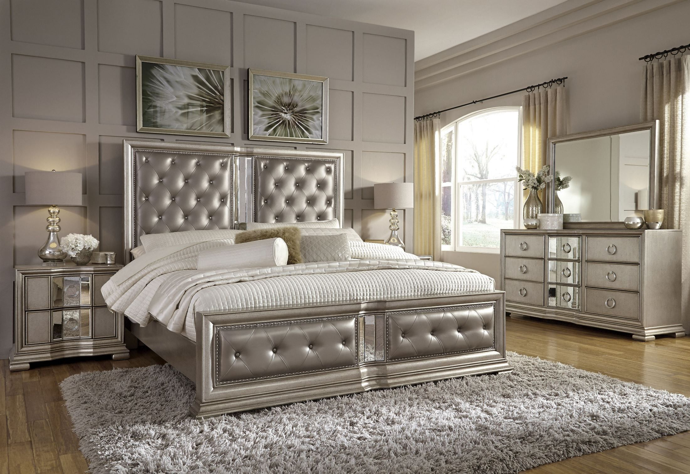 Bedroom Sets.Couture Silver Panel Bedroom Set Silver Bedroom Furniture