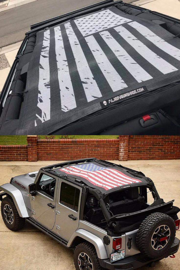 Jeep Wrangler 4 Door Jku Mesh Top Sun Shade Tactical Flag Grunge
