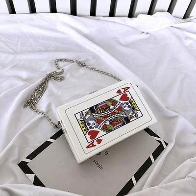 Chain Shoulder Crossbody Bag Fun Poker Card Leisure Letters Small Square Trendy Handbags Bolsa Color Black  Womens chain shoulder crossbody bag fun poker card leisure let...
