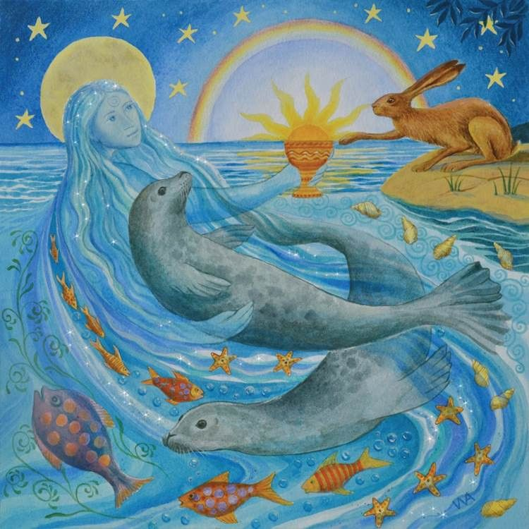 Domnu Summer Solstice Goddess - circa 21st June Mother of Water absorbs and reflects the rays of the sun as it climbs to it's zenith in the sky. She offers the chalice of self discovery. A time of great power. x