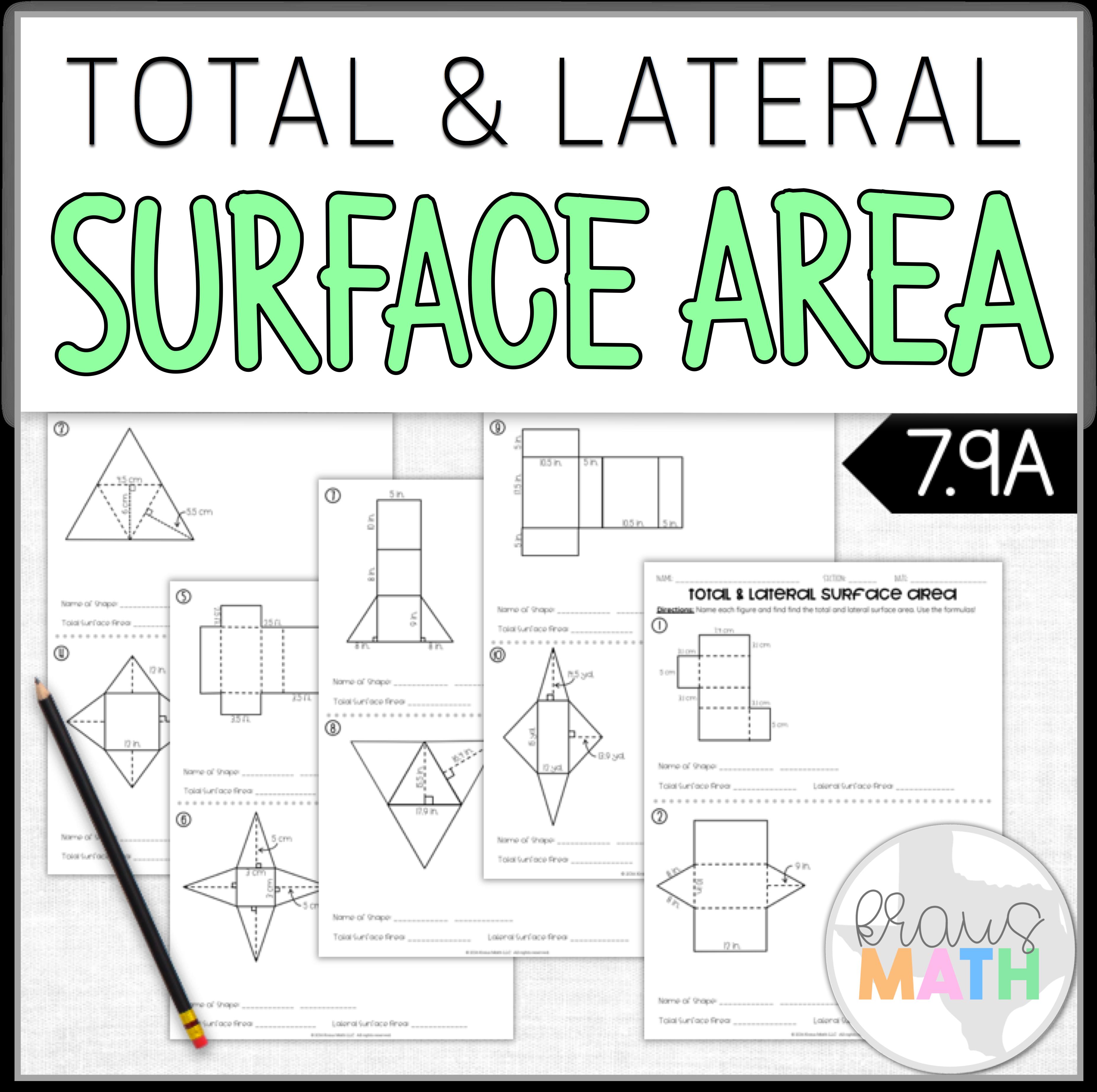 Surface Area Worksheet Teks 7 9d Kraus Math Area Worksheets Math Interactive Notebook Staar Review Math [ 3692 x 3708 Pixel ]