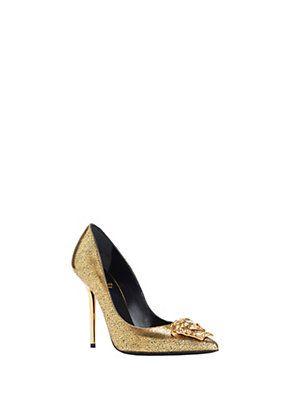 400e64b7e0b1 Versace - Gold Textured Palazzo Heels